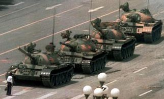 Lone demonstrator attempts to stop Chinese tanks